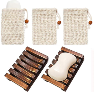 Sisal pouch and soap dish