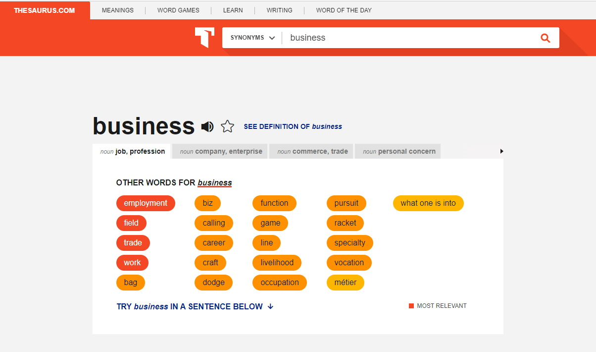 thesaurus names for business